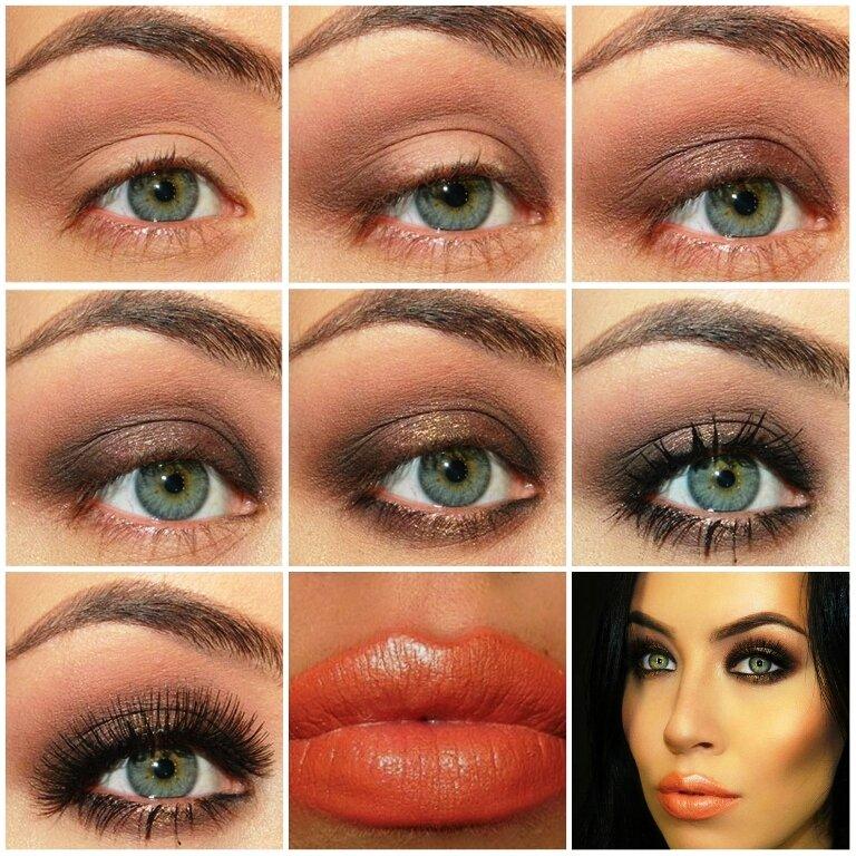 Дневной макияж для серых глаз брюнеткам